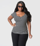 Unique Vintage Plus Size 1950s Style Black & White Striped Stretch Knit Deena Top