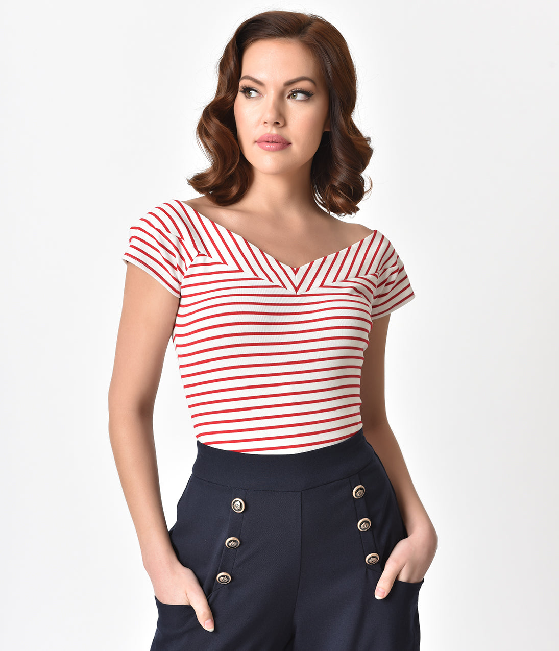 1950s Rockabilly & Pin Up Tops, Blouses, Shirts Unique Vintage 1950S Style White  Red Striped Stretch Knit Deena Top $44.00 AT vintagedancer.com