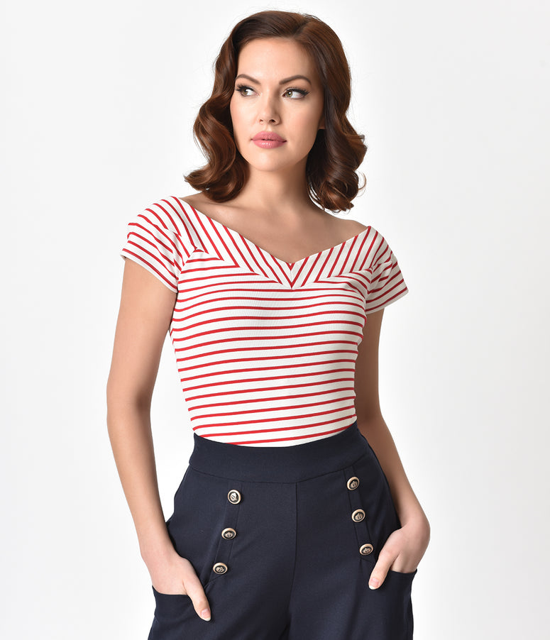 Unique Vintage 1950s Style White & Red Striped Stretch Knit Deena Top