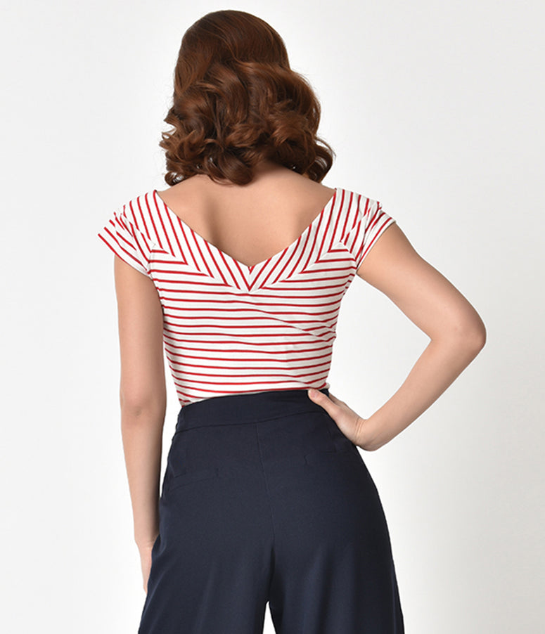 Unique Vintage 1950s Style Red & White Striped Stretch Knit Deena Top