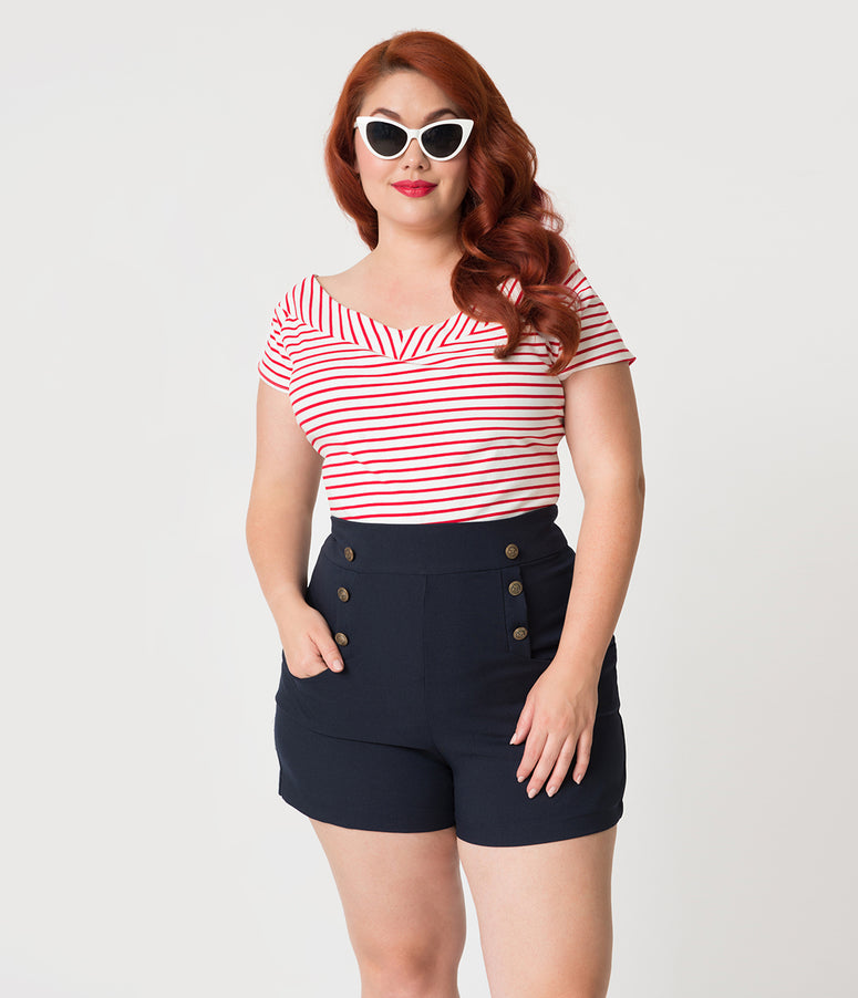 Unique Vintage Plus Size 1950s Style Red & White Striped Stretch Knit Deena Top