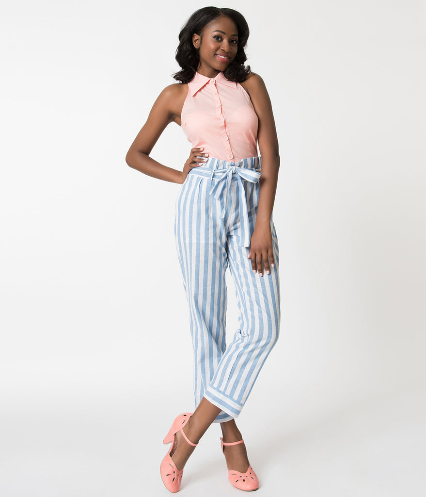 Light Blue & White Striped High Waisted Cotton Pants