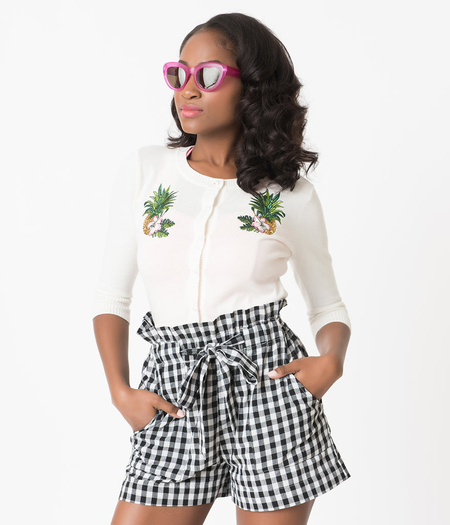 Black & White Gingham High Waisted Ruffle Cotton Shorts