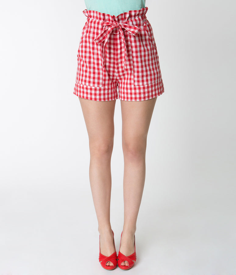 Red & White Gingham High Waisted Ruffle Cotton Shorts