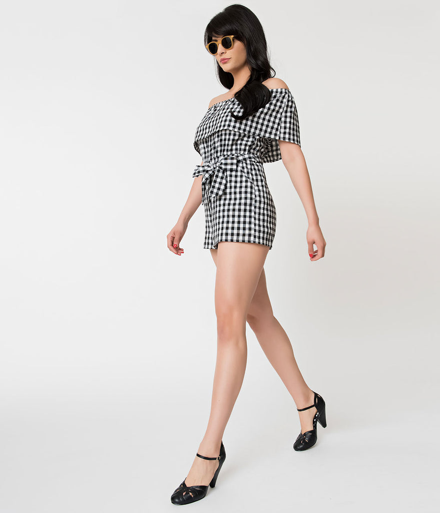 Retro Style Black & White Gingham Off The Shoulder Romper