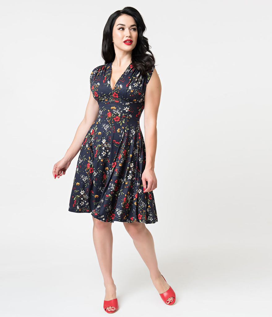 Navy & Multicolor Floral Edelweiss Print Raquel Flare Dress