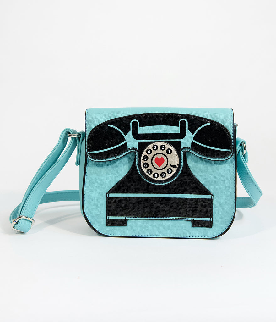 Light Blue Telephone Crossbody Purse
