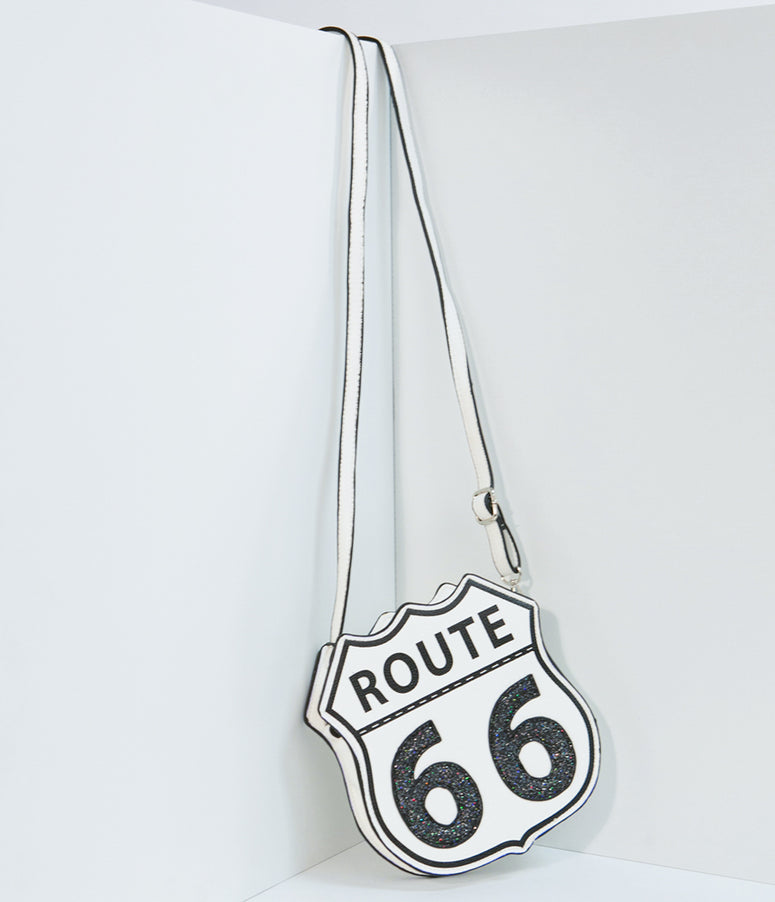 White Leatherette Route 66 Sign Crossbody Purse