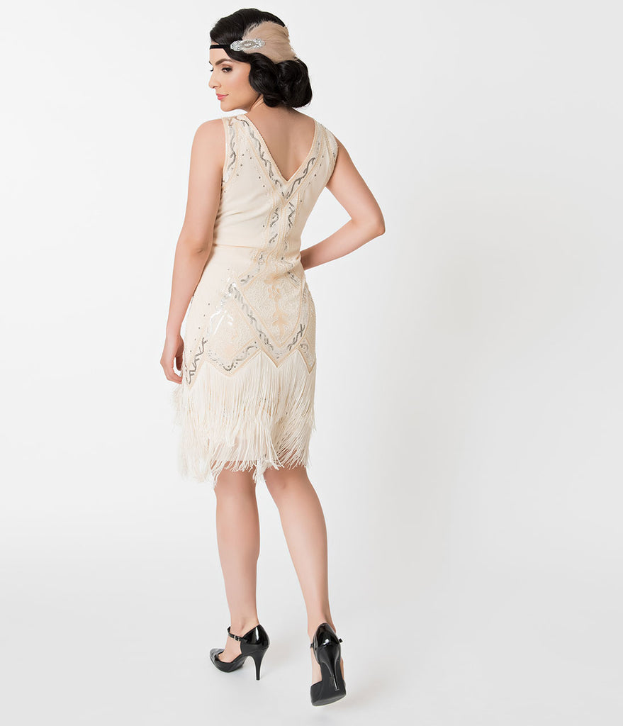 Unique Vintage 1920s Style Cream Beaded Sylvie Flapper Dress