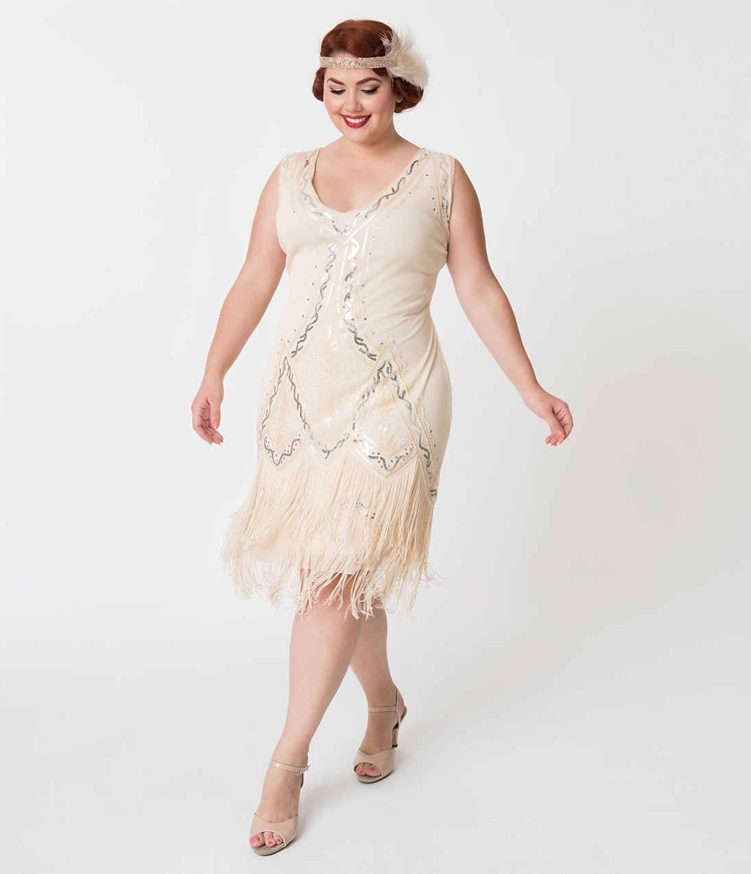 1920s Style Dresses, Flapper Dresses Unique Vintage Plus Size 1920S Style Cream Beaded Sylvie Flapper Dress $98.00 AT vintagedancer.com