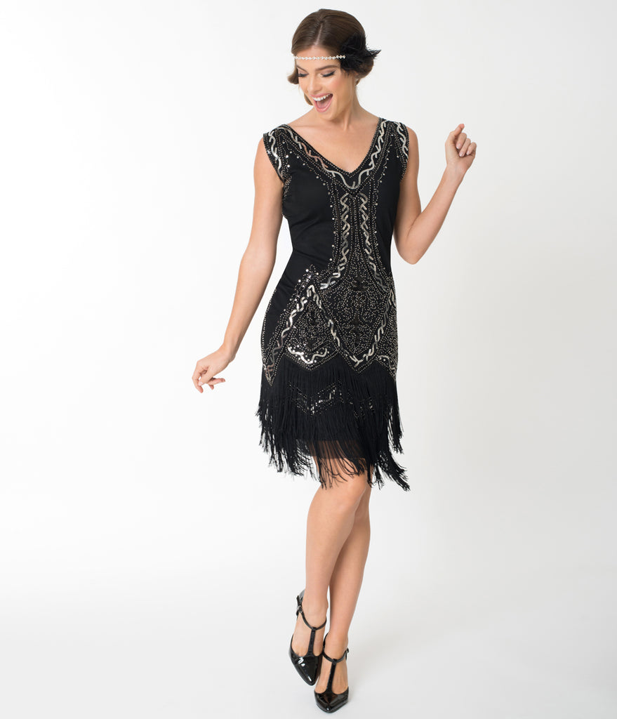Unique Vintage 1920s Style Black & Silver Beaded Sylvie Flapper Dress