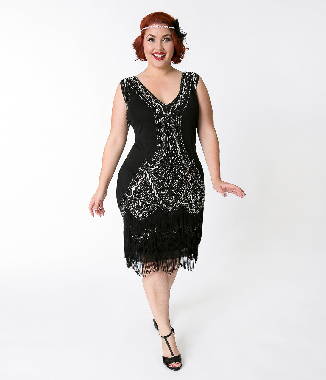 1920s Style Dresses, Flapper Dresses Unique Vintage Plus Size 1920S Style Black  Silver Beaded Sylvie Flapper Dress $98.00 AT vintagedancer.com