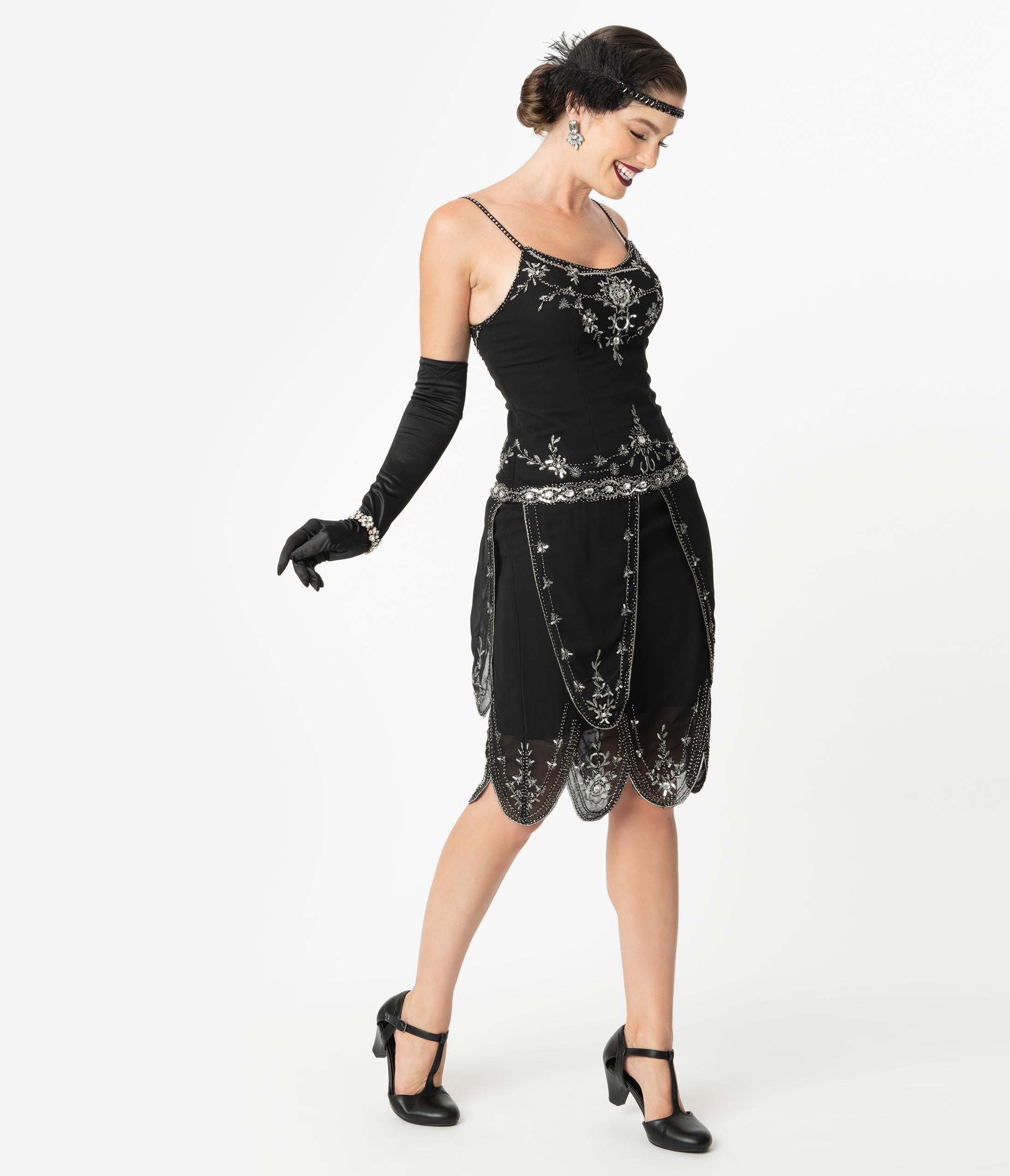 Flapper Dresses & Quality Flapper Costumes Unique Vintage Deco Style Black  Silver Embellished Odette Cocktail Dress $98.00 AT vintagedancer.com