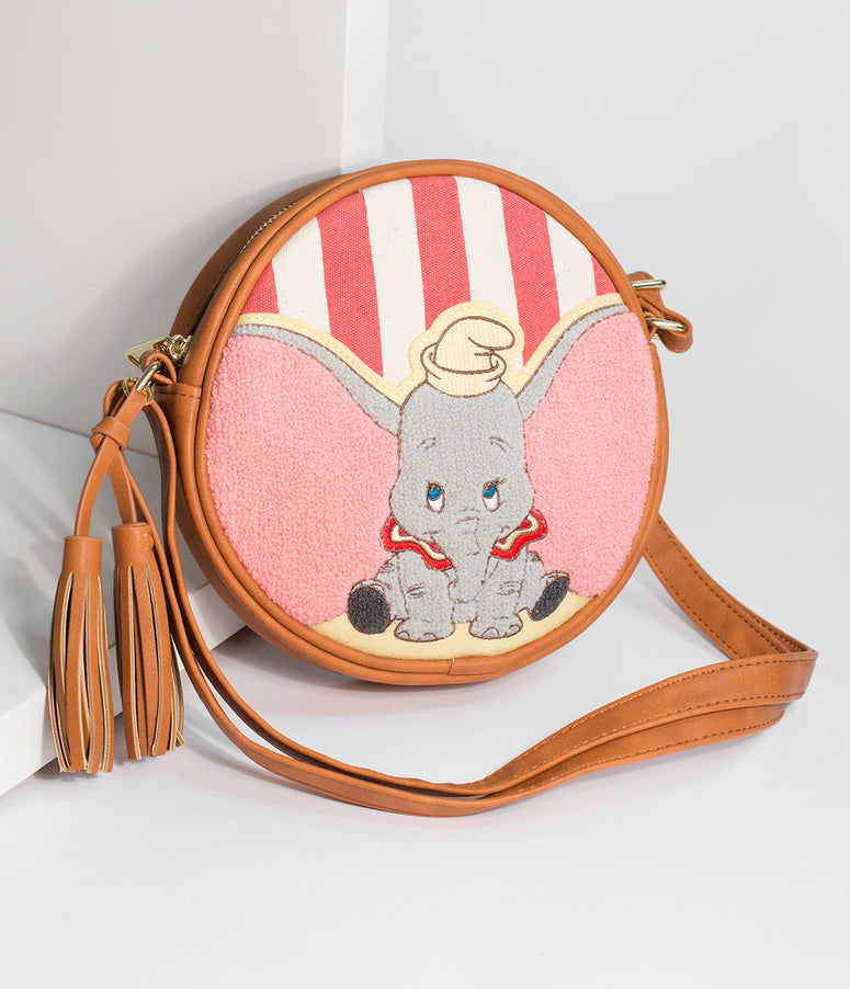 Loungefly Brown Leatherette & Yarn Dumbo Round Disney Crossbody