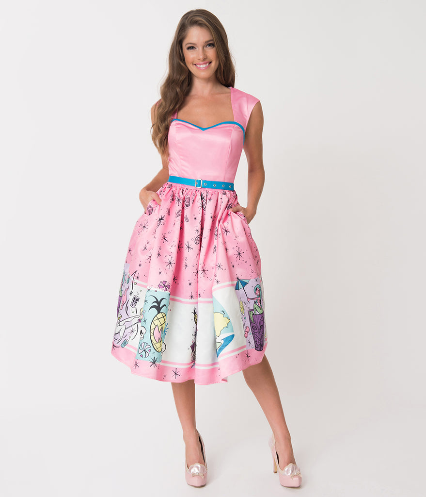 Pink & Blue Trim Tiki Goddess Print Sateen Sweetheart Swing Dress