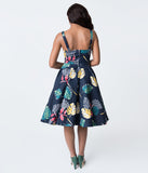 Navy Blue Hawaiian Dream Print Swing Dress
