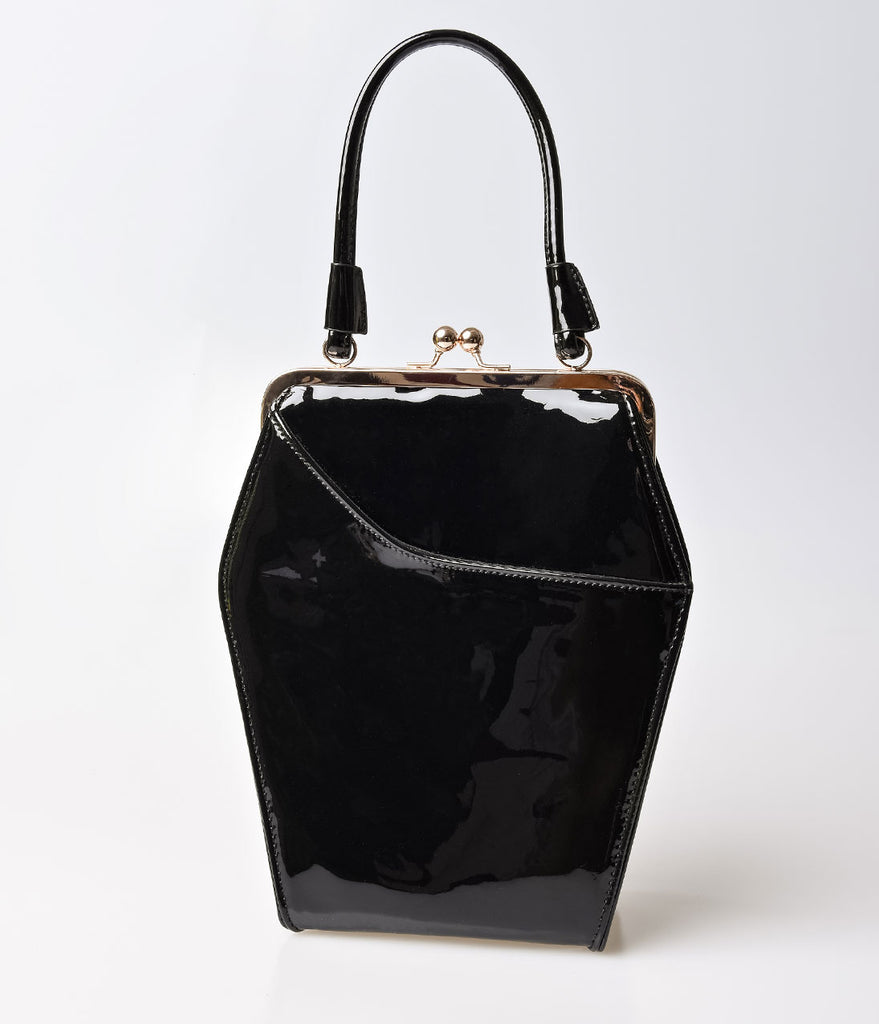 Black Patent Coffin Purse