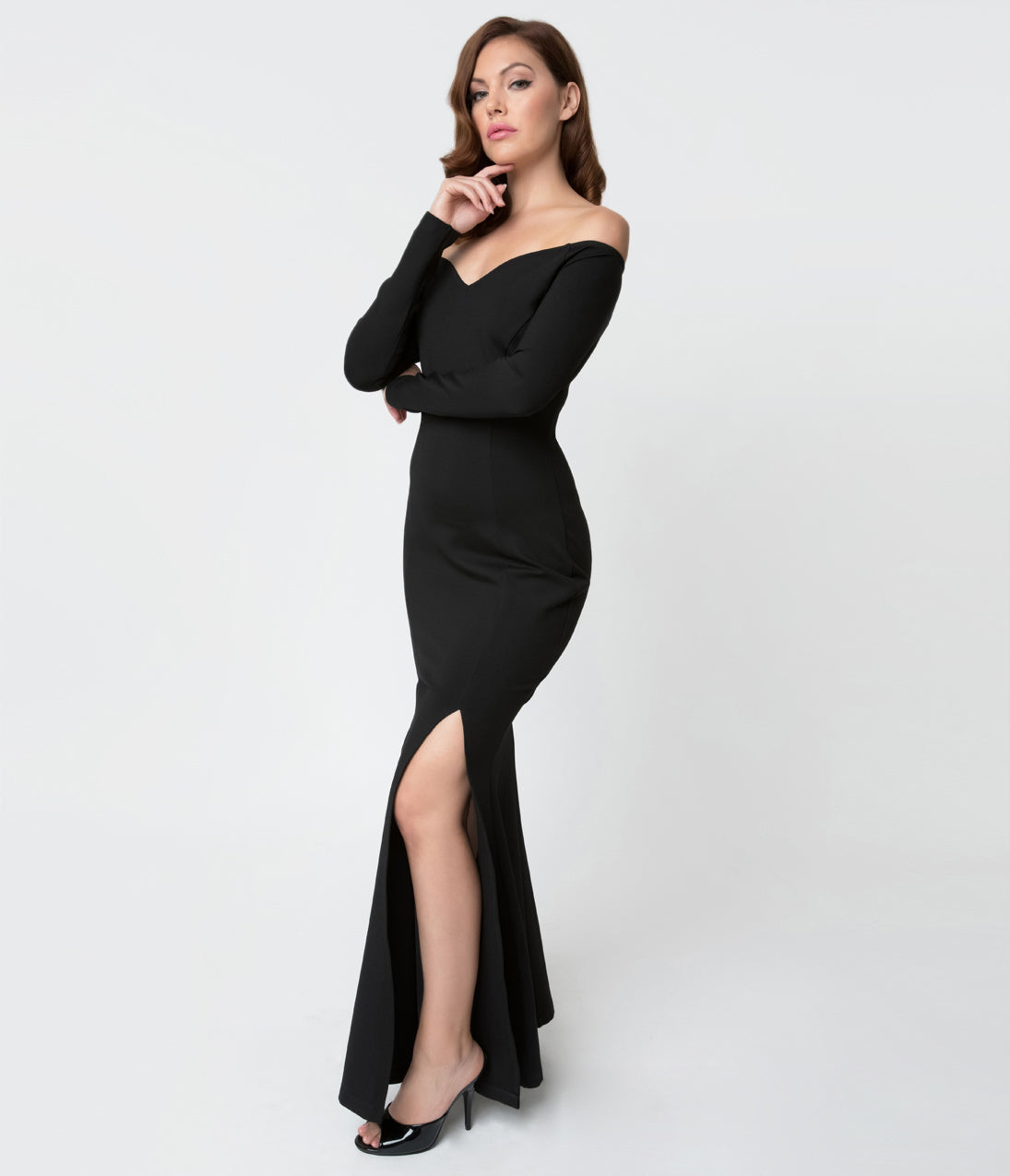 What Did Women Wear in the 1950s? 1950s Fashion Guide Unique Vintage Black Stretch Off Shoulder Long Sleeve Vampira Gown $118.00 AT vintagedancer.com