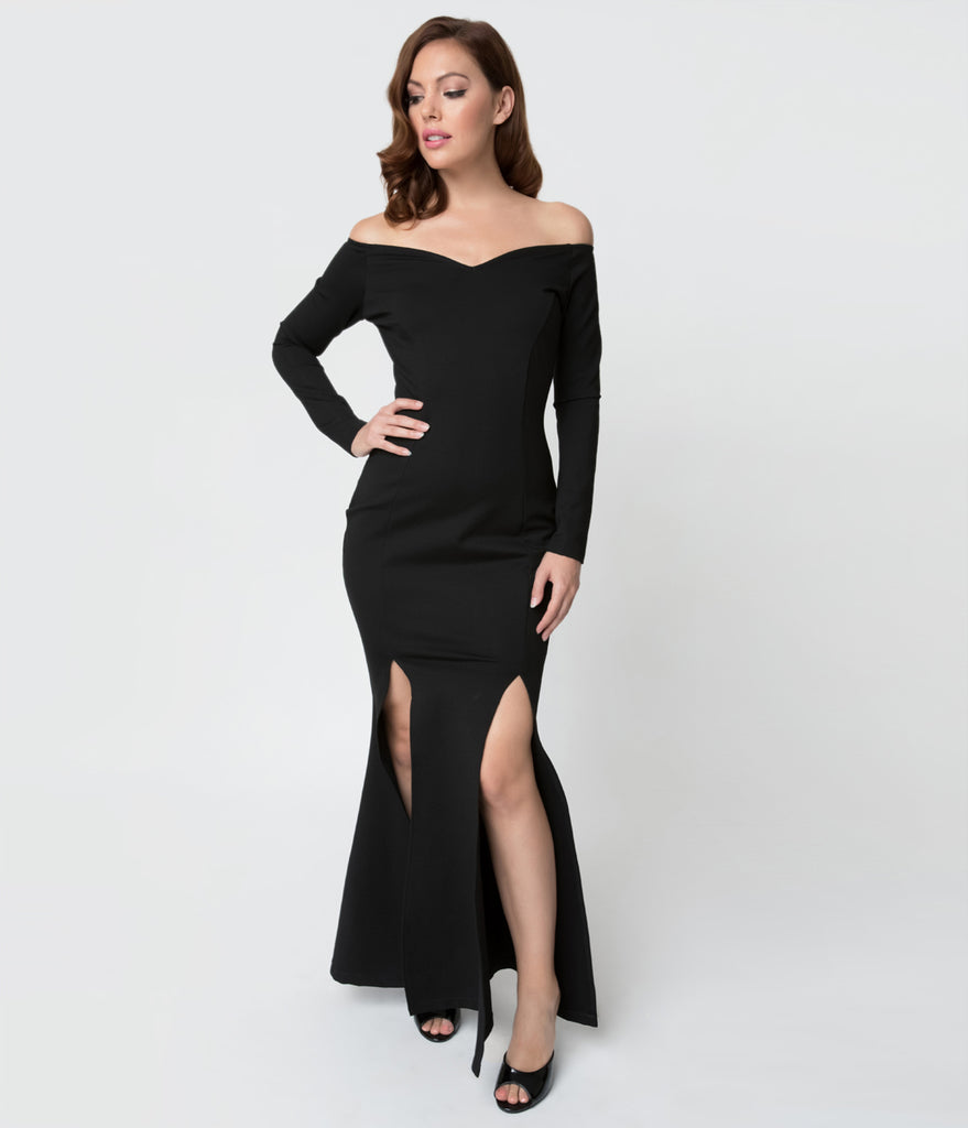 2fe1c02a265 Unique Vintage Black Stretch Off Shoulder Long Sleeve Vampira Gown