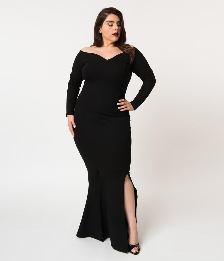 Unique Vintage Plus Size Black Stretch Off Shoulder Long Sleeve Vampira Gown