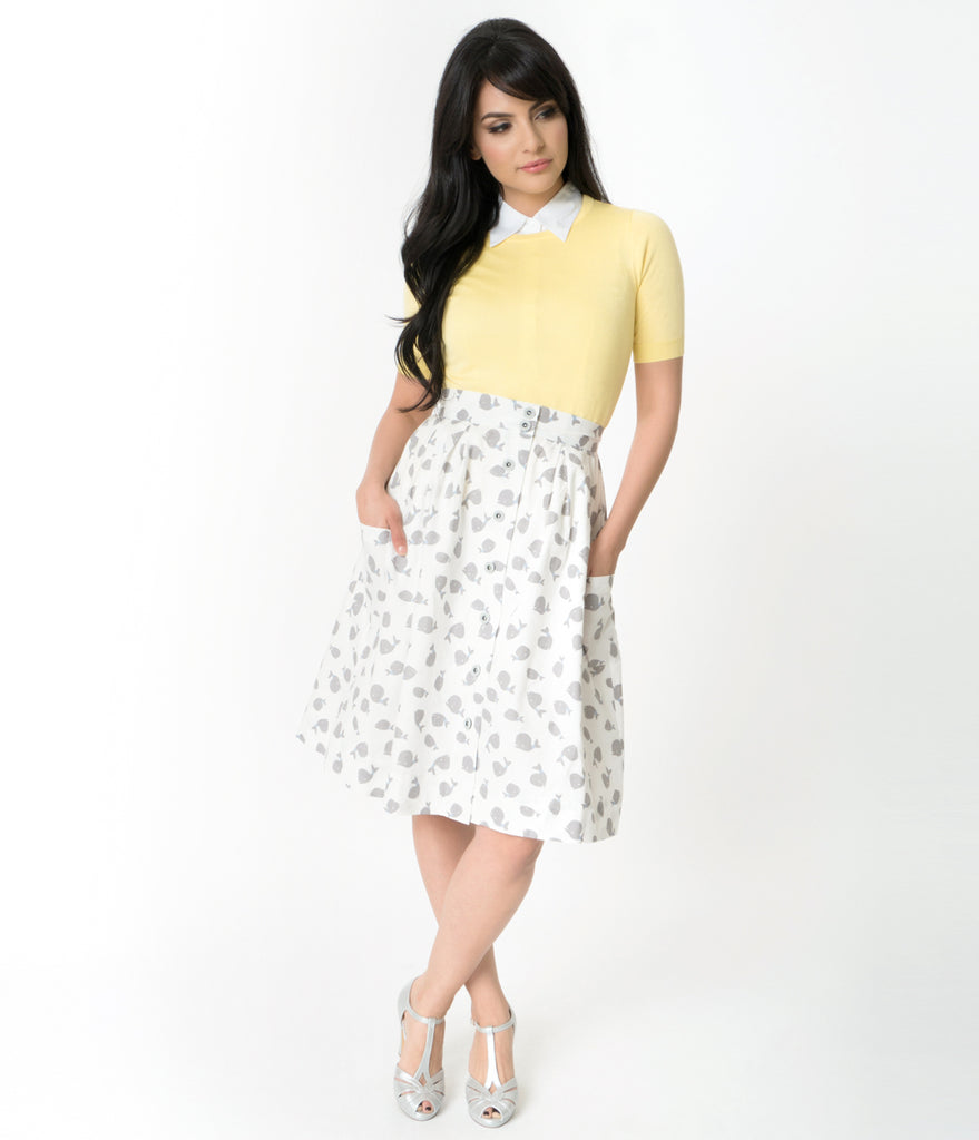 Vintage Style White & Grey Whale Print High Waist Cotton Flare Skirt