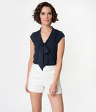 Retro Style Navy Blue Neck Tie Cap Sleeve Crepe Blouse