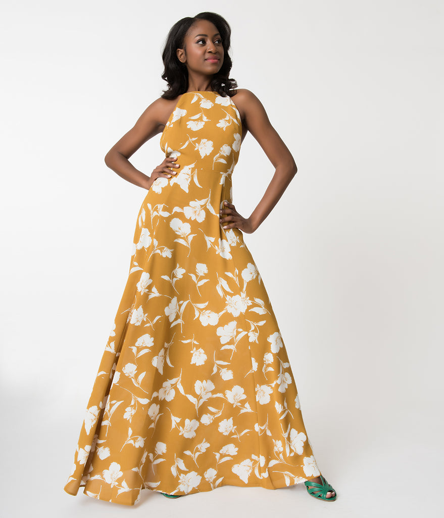 Mustard yellow white floral print sleeveless paloma maxi dress mightylinksfo