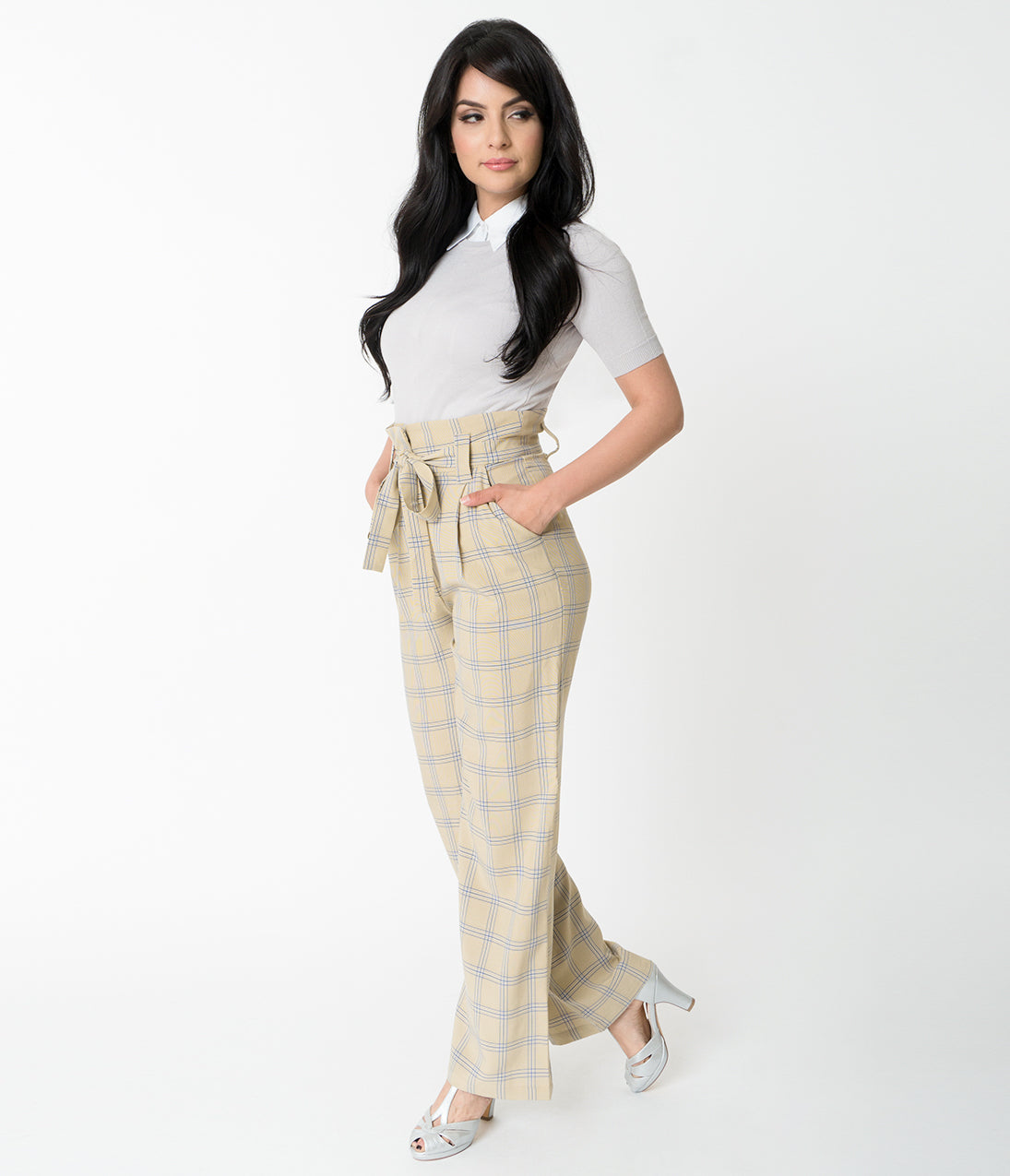 Vintage High Waisted Trousers, Sailor Pants, Jeans Vintage Style Tan Mustard Plaid Cici Trousers $58.00 AT vintagedancer.com