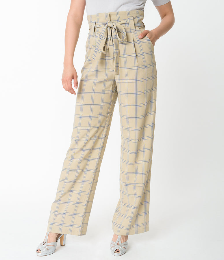 Vintage Style Tan Mustard Plaid Cici Trousers