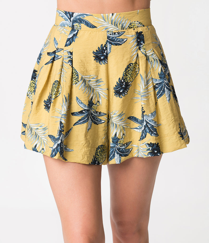 Sand Yellow Tropical Pineapple Print High Waisted Shorts