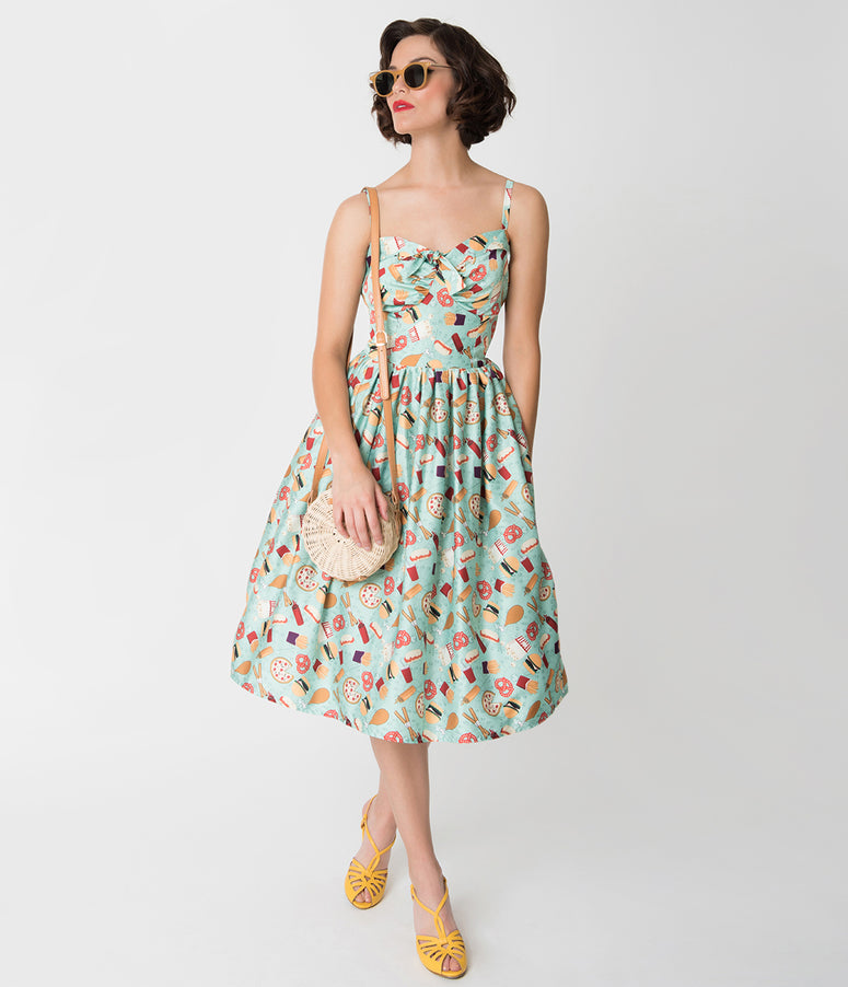Unique Vintage 1950s Style Mint Amusement Park Foods Print Chateau Swing Dress