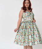 Unique Vintage Plus Size 1950s Style Mint Amusement Park Foods Print Chateau Swing Dress