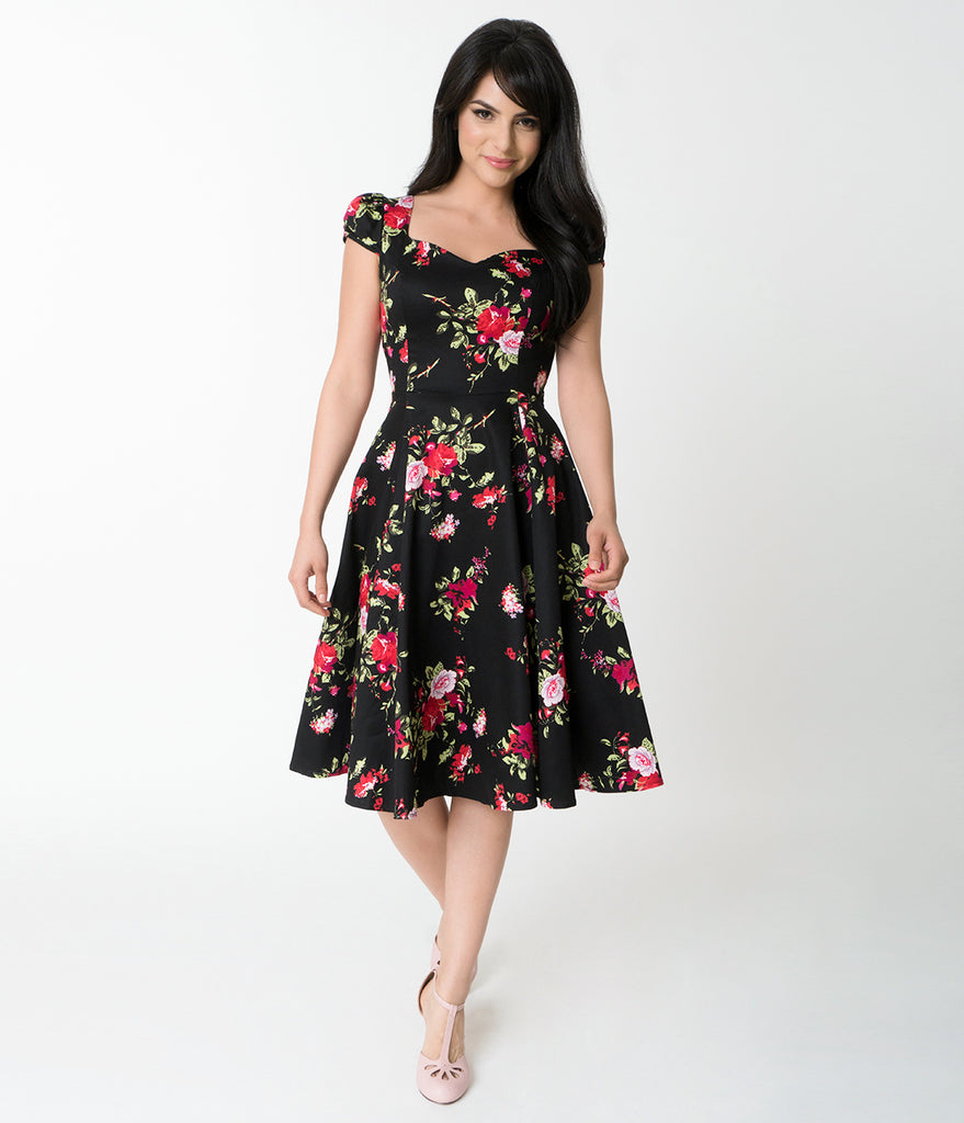 1950s Style Black Floral Cap Sleeve Royal Ballet Swing Dress