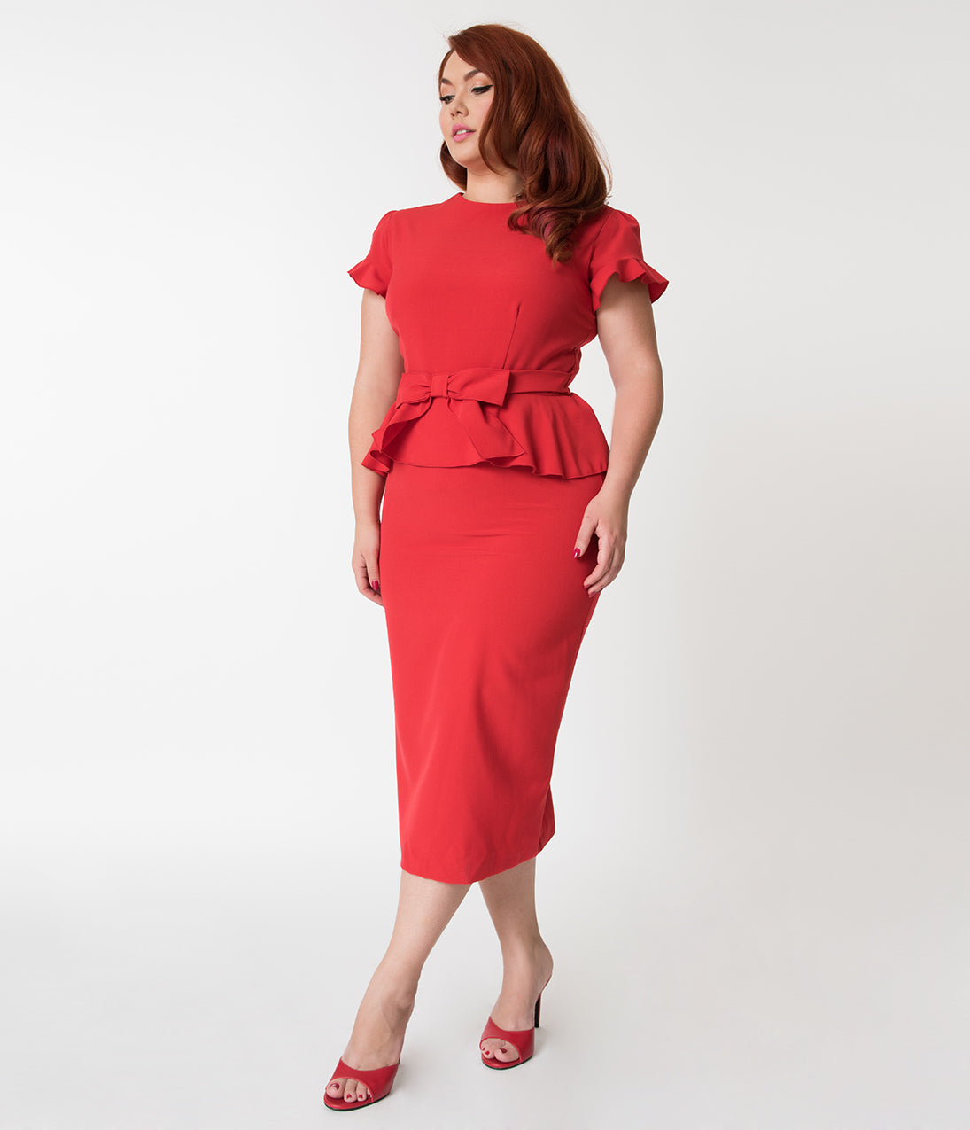 1940s Evening, Prom, Party, Cocktail Dresses & Ball Gowns Stop Staring Plus Size Red Peplum Top Willow Wiggle Dress $178.00 AT vintagedancer.com