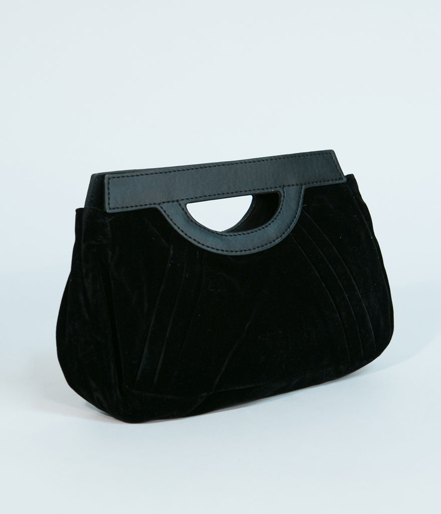 Black Velvet Pleated Clutch