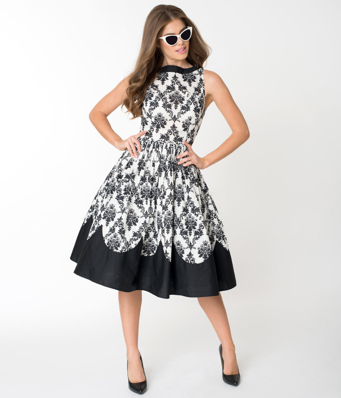 1960s Dresses | 60s Dresses Mod, Mini, Jakie O, Hippie Unique Vintage White  Black Damask Print Sleeveless Detroit Swing Dress $118.00 AT vintagedancer.com
