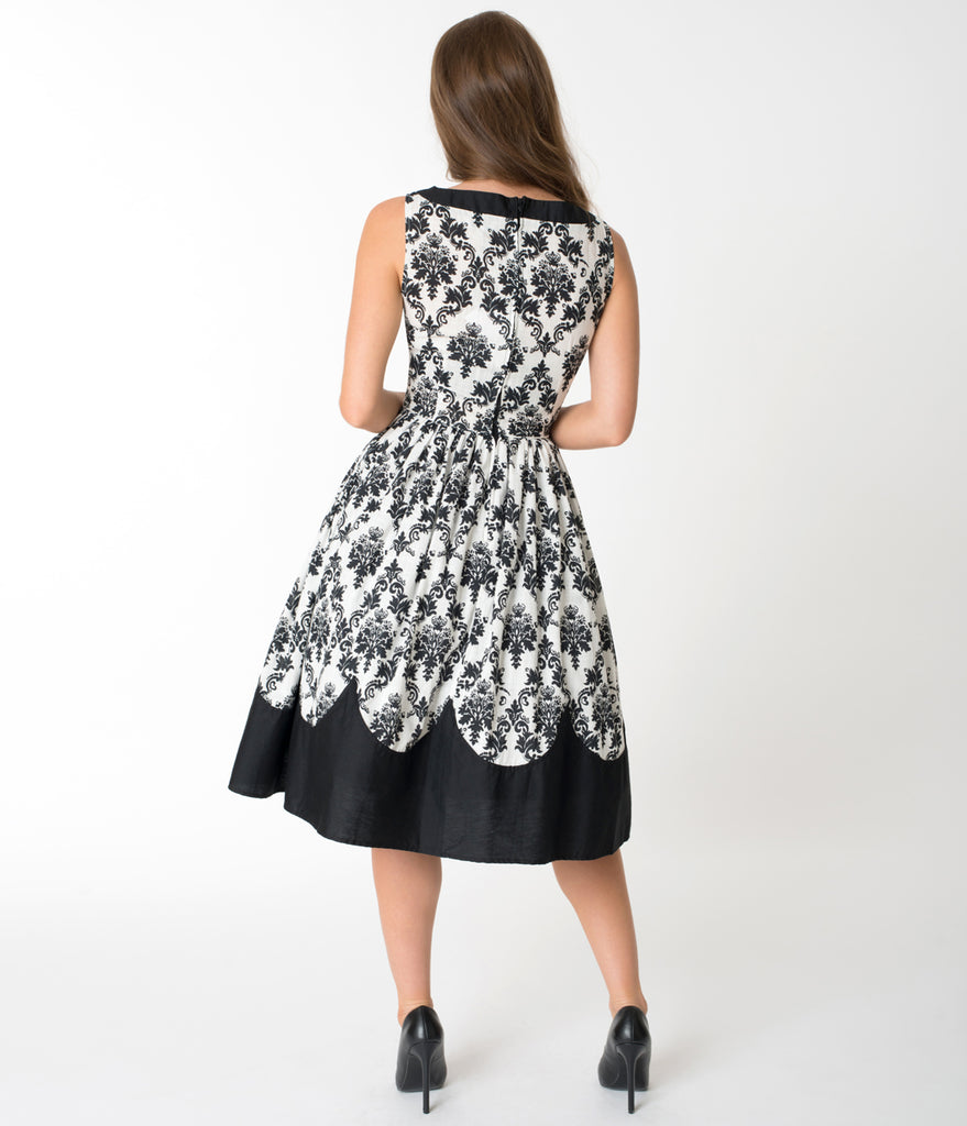 Unique Vintage White & Black Damask Print Sleeveless Detroit Swing Dress
