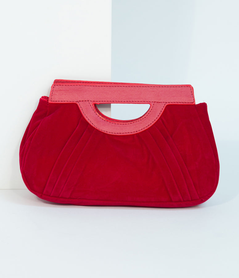 Burgundy Red Velvet Pleated Clutch