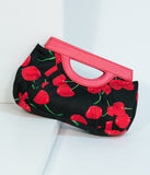 Black & Red Cherry Pleated Fabric Clutch