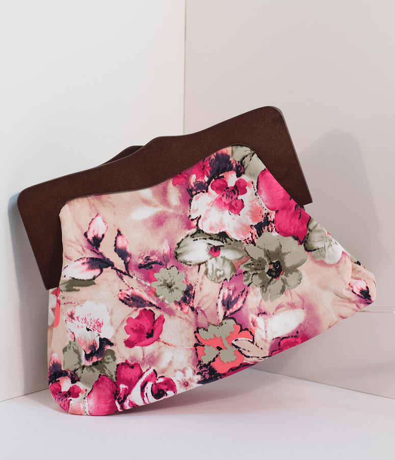 Vintage Style Pink Floral Fabric Samantha Clutch
