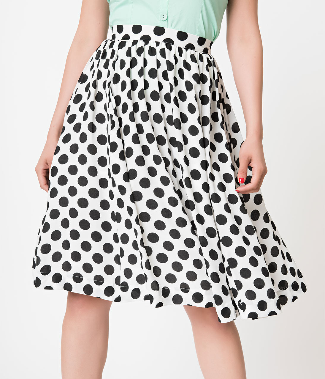 1930s Style Skirts : Midi Skirts, Tea Length, Pleated Retro Style White  Black Polka Dot Chiffon Flare Skirt $46.00 AT vintagedancer.com