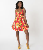 Retro Style Lemon & Floral Print Red Sleeveless Cotton Sun Dress