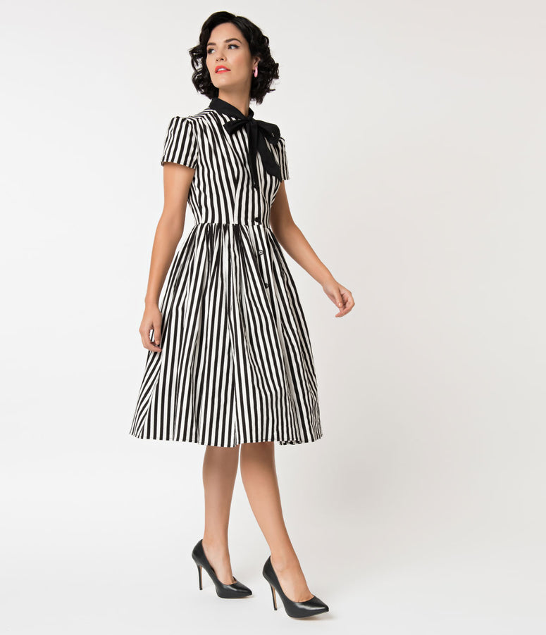 Unique Vintage 1950s Style Black & White Striped Button Up Swing Dress