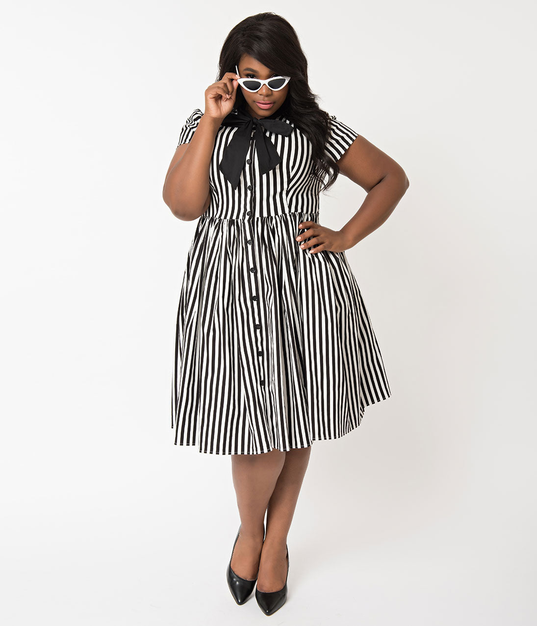 1950s Costumes- Poodle Skirts, Grease, Monroe, Pin Up, I Love Lucy Unique Vintage Plus Size 1950S Style Black  White Striped Button Up Swing Dress $98.00 AT vintagedancer.com