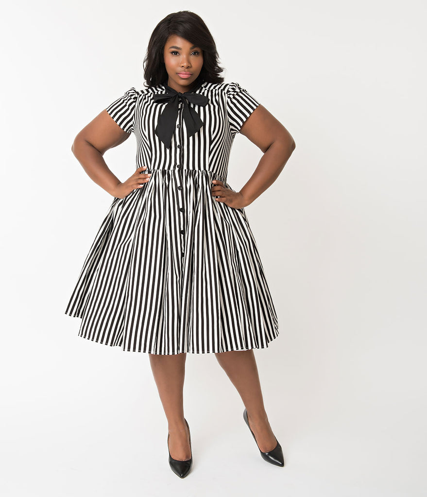 Unique Vintage Plus Size 1950s Style Black & White Striped Button Up Swing  Dress