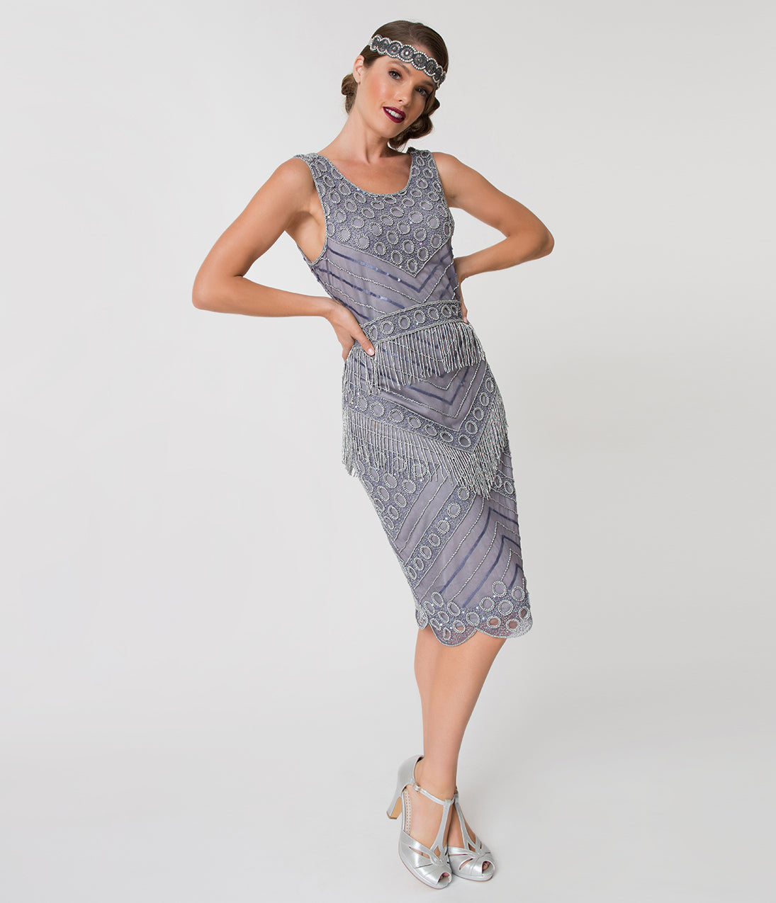 Downton Abbey Inspired Dresses Unique Vintage 1920S Style Lavender  Silver Beaded Manon Cocktail Dress $58.00 AT vintagedancer.com