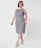Unique Vintage Plus Size 1920s Style Lavender & Silver Beaded Manon Cocktail Dress