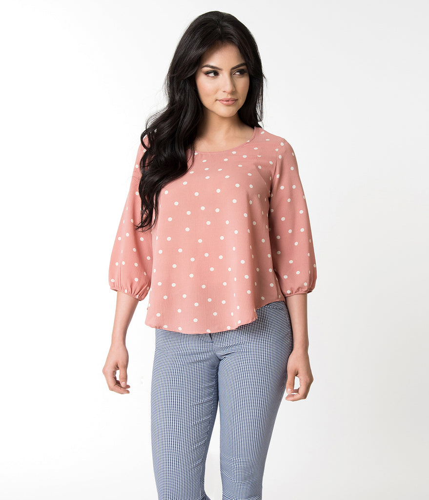 Pink & Ivory Polka Dot Printed Three-Quarter Sleeved Blouse