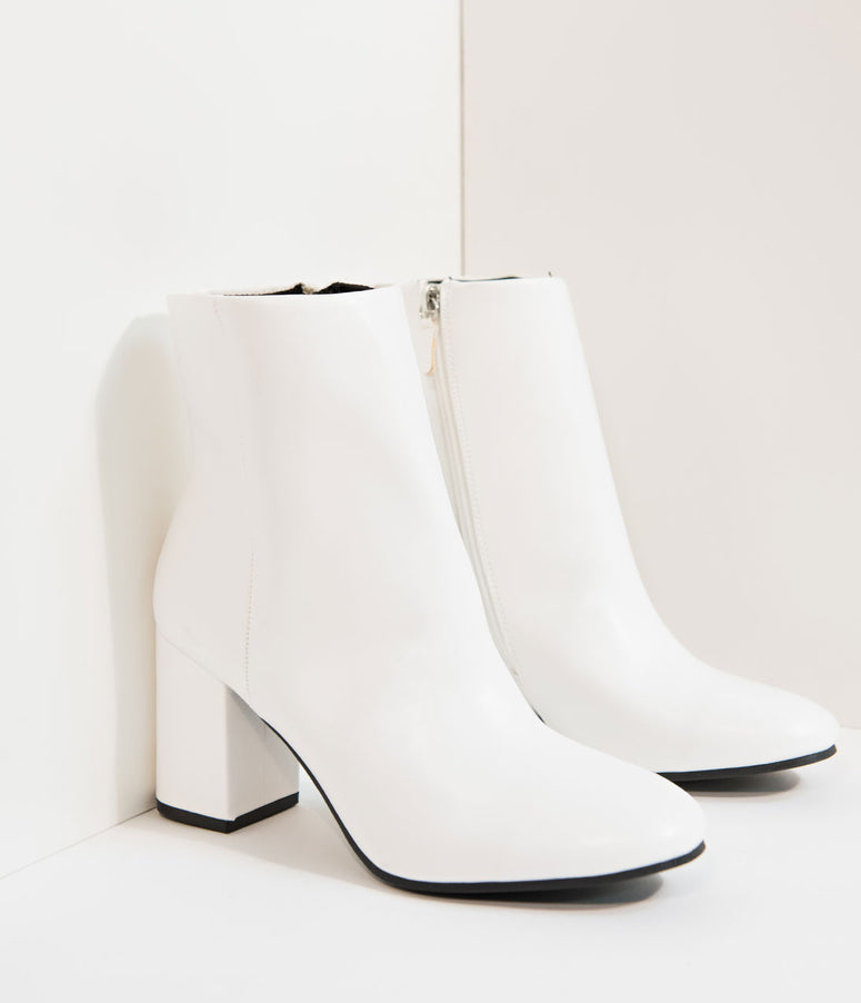 Retro Style White Leatherette Mod Ankle Boots