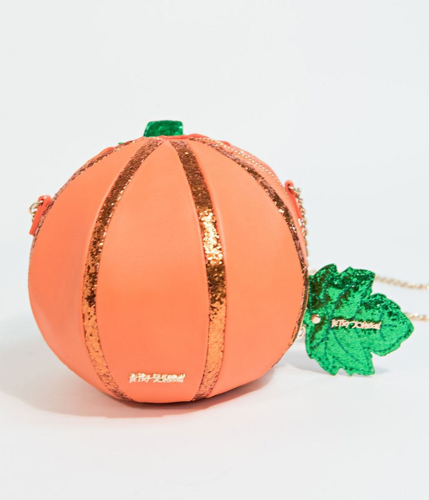 Betsy Johnson Oh My Gourd Pumpkin Crossbody Purse